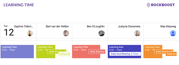 Screenshot of RockBoost's growth hacking team calendar showing the learning time