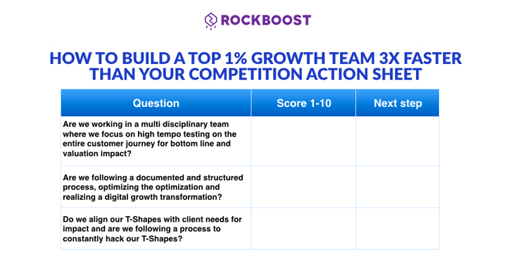 Growth hacking action sheet