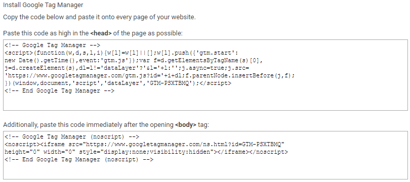 Screenshot of Google Tag Manager installing code